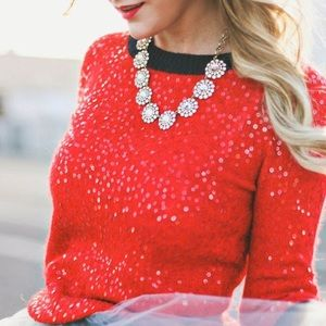 J Crew - Scattered Sequin Sweater - Red